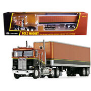 Kenworth K100 Coe Flattop Cab With 40 Vintage Dry Goods Trailer Gold Nugget G...