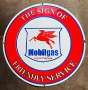 The Sign Of Friendly Service Mobilgas Socony Vintage Porcelain Sign 30 Inches