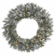 Vickerman 30 Frosted Lacey Wreath Dura-lit 70cl - K176631