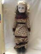 Vintage Collectible Porcelain Doll In Western Dress + Box