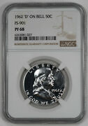 1962 Proof Franklin Half Dollar 50c Fs-901 Ngc Cert Pf 68 - And039dand039 On Bell 027