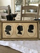Vintage 3 L Pierre Bottemer Signed/stamped Silhouette Pictures 2 Girls And Boy