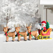 Large Inflatable Christmas Santa Claus On Sleigh Sled Indoor/outdoor Decorations