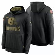 New Nike 2xl Therma Dri-fit Mens Cleveland Browns Salute To Service Nfl Hoodie