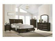 4pc Contemporary King Size Storage Drawers Bed Dresser Mirror Nightstand Brown