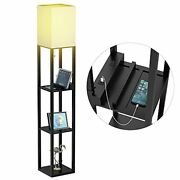 Floor Lamp With Shelves Shelf Floor Lamps By Real Solid Wood With 2 Charging ...