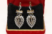 Old Original Russian 18k Gold Natural Diamond Decorated Drop Strong Earring