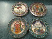 Vtg Set Of 4 Villeroy Boch Russian Fairy Tale Plates Collector Plate
