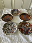 Lot Of 5 Cat Plates By Laurel Burch, B Kliban And Bill Bell Whimsical And Fun Vgc