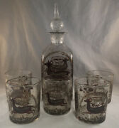 Vintage Hand Blown And Painted Stiegel Type Modern Glass Decanter Whiskey Set 1628