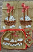 Vintage Sears Eggs In A Basket Terry Cloth Half Apron Kitchen Towels Potholders