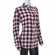 Marc O'polo Women's Long Sleeve Button Shirts Maroon And White Checked Tops Size L