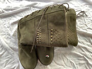 Bearpaw Womens Winter Boots 10 Olive Green Lace Up Suede Sheepskin Sherpa Lined