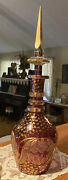 """Vtg Bohemian Cut To Clear Glass Crystal Decanter Ringed Neck Gold 24"""" Tall"""