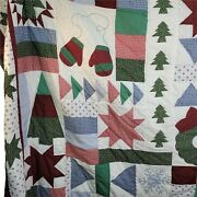 Vintage Christmas Quilt With 2 Matching Pillow Shams Full Size 84 In. X 84 In.