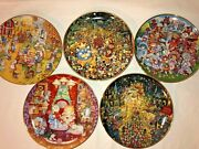 Franklin Mint Heirloom Recommend. Cat Holiday Theme Plates Bill Bell Lot Of 5