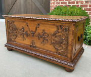 Antique French Trunk Blanket Box Coffer Coffee Table Oak Exposed Dovetails