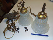 2 Blue Frosted Glass Swag 2 X 35 Chain Light Fixture Lamps Vtg Chandlier Sconce