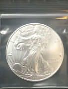 1 - 2021 Type American Silver Eagle Bu 1 Troy Oz. Excellent Condition Ampex