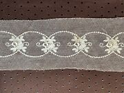 Antique French Edwardian Lace Insertion - Tulle Embroidered - Roses190cm By 6.5