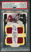 2011 Ud The Cup Quad Jersey Game Used Patch Auto Wayne Gretzky 7/15 Psa