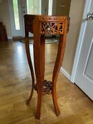 Andnbspantique Oriental Rose Wood Tall Plant/vase Stand Really Lovely Hand Carved