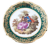 Limoges France Courting Couple W Stand Porcelain Miniature Plates 4andrdquo Green