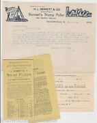 Bennett Stump Puller Invention Antique Graphic Advertising Letterhead And Booklet