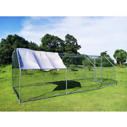 Large Metal Habitat Cage Chicken Coop Walk-in Poultry Cage Hen Run House Rabbits