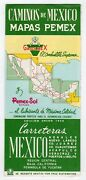 Pemex Oil Yucatan Mexico Vintage Graphic Advertising Fold-out Map Brochure