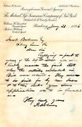 New York Mutual Life Insurance Company Antique Agent Signed Policy Letter 1896