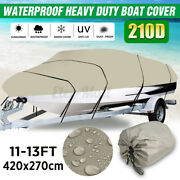 Waterproof Trailerable V-hull Boat Cover Heavy Duty Fabric 11-13ft + Storage