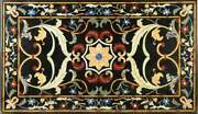 5and039x3and039 Black Marble Dining Coffee Table Top Pietra Dura Inlay Home Decor Ht