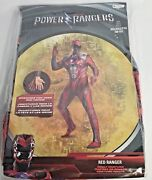 Mens Red Power Ranger Halloween Costume Suit Mask Disguise M Xl Xxl Cosplay