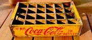 Vintage Coca-cola Coke Wood Crate Carrier 24 Bottle 1968 Chattanooga Yellow Red