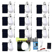 5/10xrechargeable Solar Panel Powered Led Bulb Lamp Home Camping Emergency Light