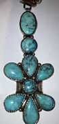 """Rare Vintage Navajo Sterling Silver Turquoise 4"""" Cross Beads Necklace Old Pawn"""