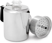 Outdoors Glacier Steel Percolator Coffee Pot Silicone Handle Camping Backpacking