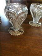Pair Antique Large Crystal Imperial Glass Zippered Heart Rose Vase C 1910 9 Ta