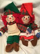 Vintage Raggedy Ann And Andy Elf Dolls Christmas Holiday W/ Tags By Applause