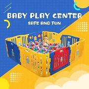 Baby Playpen, 12-panel Baby Play Yard W/ Gaming Panel, Locking Gate, Suction Cup
