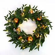 Wreath Pre-lit Artificial Greenery 24 Inch Gilded Fruit
