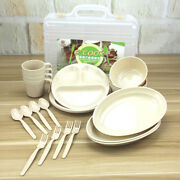 24 Packs Picnic Camping Outdoor Plastic Reusable Tableware Dishes Set