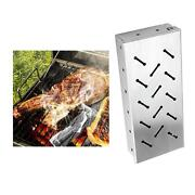 Stainless Steel Smoker Box Charcoal Gas Grill Hinged Lid For Meat Smoking