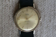 Mudu 9ct Gold Mens Watch 17 Jewel Champagne Face Sub Dial A Vintage Swiss Beauty