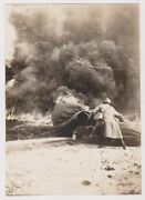 French Observation Balloon Division Shot Down Fire Original Wwi Snapshot Photo