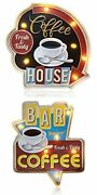 Acecar Coffee Bar Sign Metal Hanging Vintage Retro Light Up Signs Cafe Emboss...