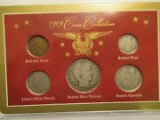1909 Year Set, 5 Coins-3 Silver, Acrylic Holder, Obsolete Coins