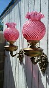 Pr Antiq Double Wick Oil Lamp Sconces Hobnail Shades Angels England Electrified