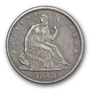 1858 S Seated Liberty Half Dollar Extra Fine To About Uncirculated R322